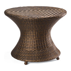 Frontgate - Balencia Bronze Round Outdoor Side Table - Offered in sun-kissed bronze. All tables feature powdercoated steel frames. Makes the perfect addition to any outdoor space. The artfully woven Balencia Bronze Outdoor Tables are beautiful accompaniments to our Balencia chaise lounges. These convenient tables are perfect for holding drinks and snacks.  .  . .