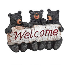 """EttansPalace - Baby Bear Cobs Welcome Statue Sculpture - House Warming Gift - Your home or garden gate will """"bear"""" a warm welcome worth repeating with our bear statue trio. Our bear cub animal statue, complete with three sets of wide grins and furry paws wrapped around a birch tree, is sculpted 360 degrees and adorable from any angle! Cast in quality designer resin, this black bear sculpture is hand-painted as the perfect house-warming gift with more big woods personality than you can bear!"""