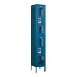 Salsbury Industries - Vented Metal Locker - Double Tier - 1 Wide - 6 Feet High - 12 Inches Deep - Blue - Vented Metal Locker - Double Tier - 1 Wide - 6 Feet High - 12 Inches Deep - Blue - Unassembled