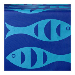 Wabisabi Green - Blue Fish Eco Table Runner, Capri/Sapphire Blue - A retro-inspired fish print in two-toned blue lends this beach house style table runner a simple mod charm. Perfect for a seafood spread or an ocean-themed dining room, it will harmonize well with neutral or tropical colors. This ecofriendly runner is made from recycled polyester/organic cotton blend fabric and is hand-printed with environmentally safe ink.