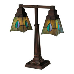"Meyda Tiffany - 19.5""H Mackintosh Leaf Mission 2 Arm Desk Lamp - The Mackintosh Leaf stained glass desk lamp has a striking leaf design of Heather, Purple, Highland Teal and Peacock Feather Green glass. The desk lamp was inspired by a famous design from Scottish Nouveau Artist Charles Rennie Mackintosh. It features an Antique Copper finish, and is custom crafted by Meyda Tiffany artisans in Yorkville, New York."