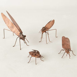 Copper Garden Bugs, Set of 4 - Scatter these hand-forged, copper-clad critters in your garden or on a bookshelf, and then delight in their warm glow.