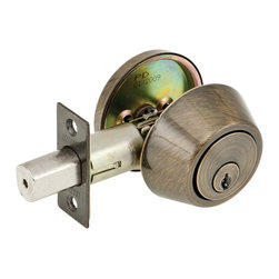 Premier - US5 Single Cylinder Deadbolt - Antique Brass - This traditional style Single Cylinder deadbolt features a hardened steel anti-saw pin, a case hardened steel drive rod and hardened steel screws to enhance your security. The interior side has a turn piece to operate the bolt while the exterior side requires a key. Utilizing a KW1 keyway ensures that you'll always be able to get a key made. It fits exterior doors between 1-3/8in. and 1-3/4in. and the backset is adjustable between 2-3/8in. and 3-3/4in. The US5 Antique Brass finish is protected by a clear powder coat. Legend locksets feature a limited lifetime warranty.