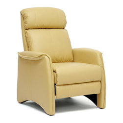Wholesale Interiors - Aberfeld Tan Modern Recliner Club Chair - Let the Aberfeld Modern Recliner do all the work as you kick back and relax! More than just a recliner, this living room chair features stylish contemporary detailing in its form and stitching: the tan faux leather is soft and supple while the steel mechanism is reliably supportive. To recline, grip the armrests and use your weight to lean on the backrest. Medium-firm foam cushions and black plastic disc feet complete this chair, a new contemporary classic. Made in China, assembly is required. To clean, wipe with a dry cloth. This style is also offered in black (sold separately). Recliner Dimensions: 41.25 inches high x 31.5 inches wide x 30.9 inches deep. Seat Dimensions: 18.25 inches high x 21.5 inches wide x 21.5 inches deep.
