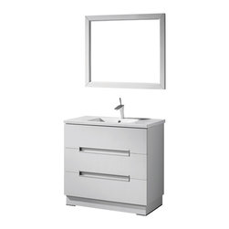 Adornus - Adornus VERONA-36-HGW-C High Gloss White Vanity - Free standing all wood vanity in a white high gloss enamel finish