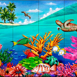The Tile Mural Store (USA) - Tile Mural - Swell  - Kitchen Backsplash Ideas - This beautiful artwork by Carolyn Steele has been digitally reproduced for tiles and depicts some very colorul fish.  Our tiles with sea turtles are a great way to add something unique to your kitchen backsplash tile project. Make your tub and shower surround bathroom tile project exceptional with one of our decorative tile murals of sea turtles. Decorative tiles with turtles are beautiful and timeless and will never go out of style. Make a seaturtle tile mural part of your bathroom wall tile and enjoy this tile mural every day in your newly renovated bathroom.