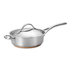 Anolon - Anolon Nouvelle Copper Stainless Steel 3 Quart Covered Saute Pan - Gourmet cooking is in direct reach with the Anolon Nouvelle Copper Stainless Steel 3-Quart Covered Sauté with Helper Handle. This amply-sized sauté features both a standard and a convenient helper handle, each attached with innovative flat-rivet technology to provide extra support even when the pan is filled. The gorgeous, mirror-finish stainless steel lid locks heat and moisture inside, so the pan can go from stovetop to oven to table, perfect for a succulent short rib braise. The covered sauté's polished stainless steel construction is crafted with copper to deliver optimum heat control and performance. A double full cap base features a copper core layered between aluminum and magnetized stainless steel that is suitable for all cooktops, including induction. Broiler and dishwasher safe for ultimate convenience, this covered sauté provides an ideal beginning or complement to a full Anolon Nouvelle Copper collection.