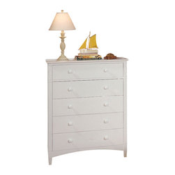 Bolton Furniture - Essex 5-Drawer Kid's Chest in White Finish - Five-drawer chest is bright white, which adds a clean look to your child's bedroom. On either side of the top drawer is an oval carving. Quality construction with dovetailed drawers and self-closing under mount glides for smooth open and close. 5 Drawers. Features shaker style case pieces. Dovetailed drawers and self-closing under mount glides. Made of solid maple and maple veneers. 1-Year warranty. 36 in. W x 19 in. D x 46 in. H (124 lbs.)