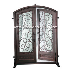 Iron front doors-----DED-005 - [Main Material]Wrought iron and glass