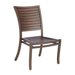 Frontgate - Palm Dining Outdoor Side Chair, Patio Furniture - Durable wrought aluminum frame. Classic coastal style mimics the look of wood plantation shutters. Available in Oyster or Mahogany finish. Crafted in durable wrought aluminum, The Palm Dining Side Chair by Summer Classics combines gentle sloping curves with a shutter back design. This unique styling offers a transitional look that will make a subtle statement in any outdoor setting. . . . Note: Due to the custom-made nature of the cushions, any fabric changes or cancellations made to the Palm Collection by Summer Classics must be made within 24 hours of ordering.