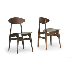 Baxton Studio - (Set of 2) Ophion Brown Wood Modern Dining Chair - This petite plywood dining chair is a surprisingly stylish seat! A medium to dark brown stain complements any color palette with ease. The Ophion Designer Dining Chair is fully assembled and is made in China. To clean, wipe with a dry cloth.Seat dimensions: 18.25 inches high x 18 inches wide x 15.75 inches deep,. Dimensions: 31.25 inches high x 18 inches wide x 20 inches long,.