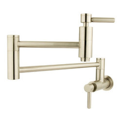 "Kingston Brass - Kingston Brass KS8108DL Satin Nickel Concord Concord Wall Mounted Pot - Double Handle Wall Mounted Pot Filler Faucet with Concord Lever Handles from the Concord CollectionKingston BrassÂ' primary mission is to become the leading provider of cost effective, high quality products in the plumbing community. Their focus has made them grow by leaps and bounds in just a few years by identifying the key problems in manufacturing today and solving them. Kingston Brass produces high quality products ranging from kitchen, bath, and lavatory faucets to accessories such as diverters, towel bars, robe hooks, supply lines, and miscellaneous parts. With the low price, amazing stock times and quality products, you can rest assured that when you order a Kingston Brass product you will love every part of the experience, and it will last for generations to come.Features:Coordinates well with Contemporary / Modern themeBall valveCeramic disc cartridge1/2"" -14 NPT inletsConstructed from solid brass for durability and reliabilityFinished with a premium color to resist tarnishing and corrosionFaucet holes: 1Handle style: Metal LeverNumber of handles: 2Specifications: Height: 8.125""Spout reach: 20"""