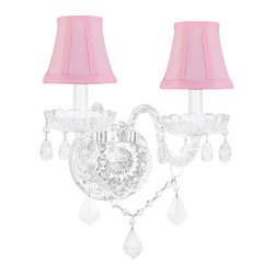 The Gallery - Moreno Venetian Style Crystal Wall Sconce Lighting with Pink Shades - This Shades included.