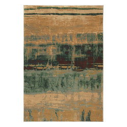 Karastan - Karastan Artois 74800-14103 Mericourt Teal Rug - You can read so much into the abstract pattern of this gorgeous rug: A shipyard, a Russian field, or the reflection of trees on water. Let your imagination soar when you roll this soft two-ply nylon rug out on your floor.
