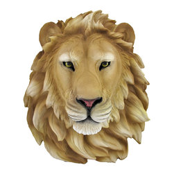 Zeckos - African Lion Head Mount Wall Statue Bust Leo - This awesome, cold cast resin replica African Lion wall mount is a prefect addition to any jungle themed room. The head measures 16 inches tall, 14 1/2 inches wide and 8 inches deep. The detail is incredible, down to the hand painted eyes. This Lion's head is Brand New, and makes a great gift for any big cat fan or people who's Zodiac sign is Leo.