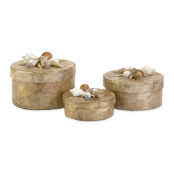 iMax - iMax Sanibel Natural Shell Boxes - Set of 3 X-3-20101 - The delicate set of three Sanibel Natural Shell Boxes are a must have for any beach lover. With a capiz shell surface and sea shell adorned lids, these small round storage boxes are perfect in a bathroom or on a dressing table.