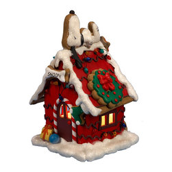 Kurt Adler - Kurt Adler 9.84-inch Snoopy Gingerbread C7 Lighted House - Celebrate the holidays with help from this charming Snoopy lighted doghouse. Made partially from clay and dough,this delightful decor beautifully mimics a real gingerbread motif with Snoopy contentedly resting on top.