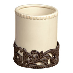 "7""H Acanthus Utensil Holder - Utensil Holder, Cream Ceramic, Brown Metal, Original Acanthus Leaf, 6.25in Dia x 7in H, Care: Ceramic is dishwasher safe. Metal, hand wash in mild soap, dry with a soft cloth"