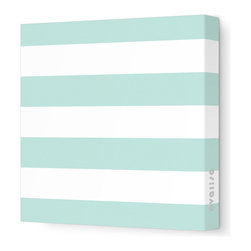 "Avalisa - Pattern - Lines Stretched Wall Art, 28"" x 28"", Sea Green -"