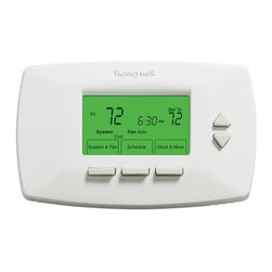 HONEYWELL CONSUMER - 7 DAY PROGRAMMABLE THERMOSTAT - Program each day differently, up to 4 periods per day. Program to save up to 33-percent on annual heating and cooling costs. Straightforward display and buttons keeps operation and programming simple. Easy to read backlit display. Continually adjust the p  reheating/cooling to be comfortable at programmed times with Smart Response Technology. Auto change from heat to cool. Precise comfort control of (+/- 1-degree F) for maximum comfort. Filter change reminder keeps heating/cooling system operating at peak p  erformance. Settings are always maintained even during a power outage. Optional daylight savings time and battery-free operation. Option to power with heating/cooling system so you never have to change batteries again. Energy aware rated. C  ompatible with heating and cooling plus heat pump systems.            This item cannot be shipped to APO/FPO addresses.  Please accept our apologies