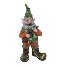 15 Inch Camouflage and Blaze Orange Hunter Gnome with Rifle - This gnome is the perfect garden accent for the outdoor enthusiast, he is dressed in camouflage hunting gear, ready for action. Made of cold cast resin, this piece measures 15 inches tall, 7 1/2 inches wide, 6 inches deep and is hand-painted to bring out the wonderful details. This is a neat variation of the typical garden gnome, and is sure to be admired by all that see it. He makes a wonderful housewarming gift, and looks great in flower beds or on patios.