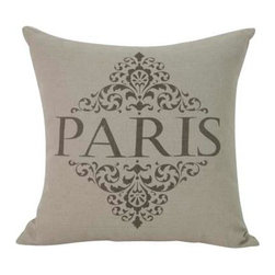 Zentique - PARIS Pillow - Show your love for the City of Lights with this classy linen pillow on your sofa, oversized chair or bed. Give it a little squeeze and let your imagination whisk you away to Paris. Bon voyage!