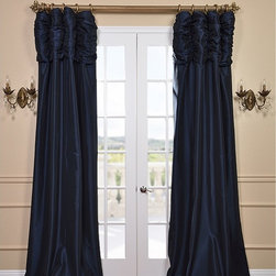 Navy Ruched Faux Solid Taffeta Curtain - We've taken our popular Faux Silk Taffeta panels and added a ruched header valance creating the most luxurious, over the top style in window treatments out there. This style was designed and meant to be stationary and used as decorative panels to frame out your window.