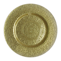 Jay Import Co. - Alinea Charger Plate, Gold - Elegance spirals outward on this golden charger plate, which will bring any dining experience to the next level of loveliness.  Serving food on this plate will make your meal matter by creating something beautiful in the setting.