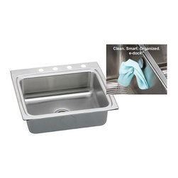 Elkay - Elkay Gourmet E-Dock DLR252210EK3 Single Basin Drop In Sink Multicolor - 541335 - Shop for Kitchen from Hayneedle.com! A sink that helps you stay organized may seem like a dream but the Elkay Gourmet E-Dock DLR252210EK3 Single Basin Drop In Sink makes it come true. The included magnetic e-dock allows for easy hanging of kitchen accessories dish towels or anything else you can imagine. The sleek look makes a striking statement. Constructed of stainless steel with sound-deadening properties to reduce noise.About Elkay Elkay sinks faucets and accessories are the American standard. Elky has been family owned since 1920. What started as a father and son sink manufacturing company on the north side of Chicago has grown to become an international company and America s number one selling stainless steel sinks company as well as a name well-known for top-quality faucets water coolers and drinking fountains. Elkay is the professional s choice.