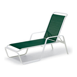 Telescope Casual - Telescope Casual Vanese Sling Stackable Chaise Lounge - The Vanese Sling Collection comes to the rescue when poolside patio or balcony furniture takes a lot of wear! Without sacrificing comfort or the sturdy solid and rugged build you expect from Telescope Casual Telescope designed this entire collection with efficiency in mind. You can fit more chairs around a table and still have ample room for entertaining. Rust-free aluminum frame with a durable powder coated finish. Easily replaceable weather resistant sling with a unique double support bar design. 15 year residential warranty.  • • Offered in 10 colorsSince 1903 Telescope Casual has been a family owned and operated business now in its fifth generation. Initially producing its namesake telescoping cots the company grew and moved to its current production facility in Upstate NY.  With classical traditional and modern designs Telescope Casual has a design for any patio whether commercial or personal. From their signature directors chairs to their modern MGP collections Telescope Casual sets a high bar for style and durability.  Consistently fast production times with the assurance of the quality continue to justify the well earned reputation of Telescope Casual patio furniture.   Features include Rust free so it lasts and lasts Recycled to be earth friendly Durable and strong for years of use Polyester powder coat is attractive and stands up against the weather Extremely durable construction Choose any one cushion fabric for the face and back Durable sling material inside for support Very durable and light weight aluminum material Minimal maintenance required Suitable to be used anywhere outside Available in various powdered coated finishes Offered in wide selection of sling options Arm handles are offered for comfort and style Stackable for convenience of storage Commercial Grade. Specifications Seat Height: 15 inches.
