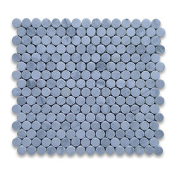 """Stone Center Corp - Carrara Marble Penny Round Mosaic Tile 3/4 inch Honed - Carrara white marble 3/4"""" diameter round pieces mounted on 12"""" x 12"""" sturdy mesh tile sheet"""