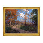 """Julian Onderdonk-18""""x24"""" Framed Canvas - 18"""" x 24"""" Julian Onderdonk October Sunlight framed premium canvas print reproduced to meet museum quality standards. Our museum quality canvas prints are produced using high-precision print technology for a more accurate reproduction printed on high quality canvas with fade-resistant, archival inks. Our progressive business model allows us to offer works of art to you at the best wholesale pricing, significantly less than art gallery prices, affordable to all. This artwork is hand stretched onto wooden stretcher bars, then mounted into our 3"""" wide gold finish frame with black panel by one of our expert framers. Our framed canvas print comes with hardware, ready to hang on your wall.  We present a comprehensive collection of exceptional canvas art reproductions by Julian Onderdonk."""
