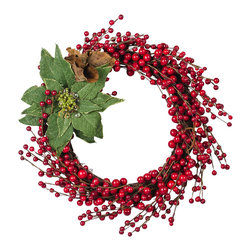 The Firefly Garden - Merry Berry - Our Merry Berry wreath boasts the lush reds and delicate greens of the holiday season, featuring an illuminated poinsettia. This arrangement makes for a lovely door or window accent, as well as a table centerpiece for celebrations.