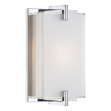 George Kovacs - Cubism 1-Light Wall Sconce - Captivating and timeless, this wall sconce has simple geometric shapes. The mitered glass is accented by the chrome base to create an exquisite lighting fixture for your home.