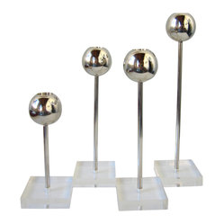 Lucite and Steel Candleholders, Set of 4