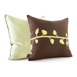 """Inhabit - Sprout Throw Pillow in Chocolate - Add a decorative accent to your bedding set with the Sprout Throw Pillow in Chocolate. This stylish throw pillow, which comes in two sizes, is printed on both sides in a unique design and features retrosuede fabric on the front and reverses to silky sateen on the back. Dress up your bedding collection with this luxurious throw and add a modern style element to your bedroom. Features: -Available in two sizes -Made with environmentally friendly inks with no chemical waste or disposal generated -Zipper closure for easy removal and cleaning -Made in the USA -Please Note: Most Inhabit items are made to order, so items can not be cancelled more than 24 hours after orders are placed Fabric Details: -Front Fabric: Handprinted recycled retrosuede -Back Fabric: Handprinted sateen -Pillow Insert: 95% Feather / 5% Down Specifications: -Square Pillow: 18"""" W x 18"""" D -Rectangle Pillow: 24"""" W x 13"""" D Care and Maintenance: Hand washing is recommended. Pillows can be machine washed with care. Use warm water on gentle with light colors. Do not wring or bleach the fabric. Press if needed."""