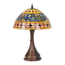 Meyda Tiffany - Meyda Tiffany Tavern Traditional Tiffany Accent Lamp X-84658 - From the Tavern Collection, this traditionally styled Meyda Tiffany accent lamp features a charming curvilinear shade topped with a turned finial and paired with a simple but elegant base. Finished in a classic Mahogany Bronze hue, this design features an art glass shade with intricate details highlighted by a plethora of colors ranging from blue to red to yellow.