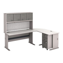 BBF - Bush Series A 5-Piece L-Shape Computer Desk in Pewter - Bush - Modular Office Configurations - WC14560PKG3 - Bush Series A 3 Drawer Vertical Mobile Filing Storage Cabinet in White Spectrum and Pewter (included quantity: 1) Put your files in good hands with the Bush Series A Collection Three Drawer File Cabinet, a subtle solution which fits easily under virtually any desk. This classy filing cabinet stands nicely on its own and will excellently complement other Bush Furniture pieces.  Features: