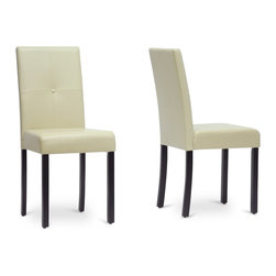 "Wholesale Interiors - Curtis Cream Modern Dining Chairs, Set of 2 - The Curtis Dining Chair brings a sleek, contemporary silhouette to your dining area. Perfect alongside a designer dining table, this contemporary dining chair features smooth, glossy faux leather in a beautiful shade of cream with a matching covered button accent. Made in China, this chair is made with a sturdy, solid wooden frame finished with black lacquer and requires assembly. Foam cushioning provides easy, quick comfort. To clean, wipe the surfaces with a damp cloth. For a unified look throughout your home, we also offer matching Curtis Counter Stools and Bar Stools (each sold separately), which are also available in dark brown. Dimension: 16""W x 21""D x 35.75""H , seat dimension: 16""W x 15.75""D x 18.8""H."