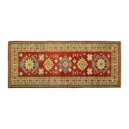 Manhattan Rugs - New Red Veg Dyed Super Kazak Adina Collection 2'x6' Hand Knotted Wool Rug H5947 - Kazak (Kazakh, Kasak, Gazakh, Qazax). The most used spelling today is Qazax but rug people use Kazak so I generally do as well.The areas known as Kazakstan, Chechenya and Shirvan respectively are situated north of  Iran and Afghanistan and to the east of the Caspian sea and are all new Soviet republics.   These rugs are woven by settled Armenians as well as nomadic Kurds, Georgians, Azerbaijanis and Lurs.  Many of the people of Turkoman origin fled to Pakistan when the Russians invaded Afghanistan and most of the rugs are woven close to Peshawar on the Afghan-Pakistan border.There are many design influences and consequently a large variety of motifs of various medallions, diamonds, latch-hooked zig-zags and other geometric shapes.  However, it is the wonderful colours used with rich reds, blues, yellows and greens which make them stand out from other rugs.  The ability of the Caucasian weaver to use dramatic colours and patterns is unequalled in the rug weaving world.  Very hard-wearing rugs as well as being very collectable.