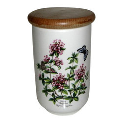 "Royal Worcester - Royal Worcester Herbs Green Trim Storage Jar 7"" Wild Thyme - Royal Worcester Herbs Green Trim Storage Jar 7"" Wild Thyme"