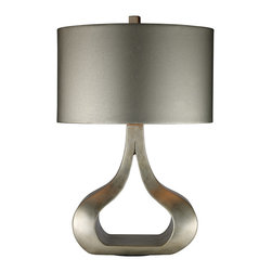 """Dimond - Dimond D1840 Contemporary Table Lamp - Carolina Silver Leaf Table Lamp with oval metallic silver faux leather shade and silver foil liner.  The lamp measures 17""""W x 26""""H with shade measurements of 17""""W x  10""""H. The lamp uses a 100 Watt medium 3 way bulb with an on/off switch on the socket."""
