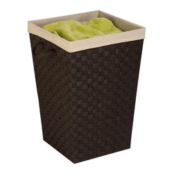 """Woven Strap Hamper With Liner - Espresso/Black - Honey-Can-Do HMP-03057 Woven Strap Hamper with Liner, Espresso Black. Double-woven hamper with epoxy coated metal frame for extra strength. Includes natural linen liner, machine washable. Woven polypropylene strapping with an epoxy coated metal frame, liner is linen and machine washable, dimensions are 15"""" x 15"""" x 20"""". Strap handles."""