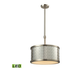 Elk Lighting - Diamond Plate LED 3-Light Pendant in Brushed Nickel - This collection captures the industrial beauty of diamond tread aluminum in an innovative manner. Thick sheets of aluminum are formed into a drum shape and complemented by a brushed nickel frame and a white acrylic diffuser. From studios to luxury garages, this series has a surprisingly flexible range.
