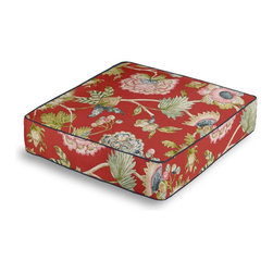 Red & Aqua Watercolor Floral Box Floor Pillow - Extra seating that is so good looking you won't want to store it away.  Our Box Floor Pillow is perfect for your next coffee table dinner party, fire place snuggle session, or playroom sleepover.  We love it in this transitional watercolor floral in a classic combo of cherry red,  dappled blues & springy greens.