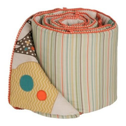MiGi Little Circus Crib Bumper - The MiGi Little Tree Crib Bumper provides a whimsical circus setting to your baby's crib. Made with soft cotton, this cushioned bumper set includes two short and two long sides that fit most crib rail formats. It features a tie assembly for easy installation. Bumpers are embellished with sweet circus animals including an elephant, giraffe, and lion in soft pastel colors on one side, and a colorful striped pattern on the other. Machine washable on cold.Dimensions: Short: 10W x 27.5L in.Long: 10W x 51.5L in.About BananafishBananafish was founded in 1997 and has grown to become a leading manufacturer of infant bedding and nursery décor. In 2007 Bananafish became part of the Betesh Group family. Bananafish has found success tapping into global design resources to bring the latest trends to their product lines. While on-trend, they still manage to balance a look that appeals to classic and contemporary tastes. You'll find Bananafish products featured in all the hot media, such as Pregnancy Magazine, American Baby, HGTV.com, OK Pregnancy and Newborn, and more. Luxurious comfort, superior quality, and style that lasts, Bananafish will help you create a nursery that delights.