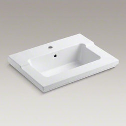KOHLER - KOHLER Tresham(R) vanity-top bathroom sink with single faucet hole - Recalling the elegant simplicity of Shaker-style furniture, Tresham blends classic American design with a modern eclectic sensibility. This one-piece integrated bathroom sink is offered in an industry-standard size for easy configurability. It makes an id
