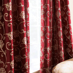 "Horchow - Each Paris Curtain, 55""W x 120""L - Chain-stitched scrolls add nice interest at the windows. Rod-pocket, polyester curtains are available in your choice of colors; choose below. Dry clean. Imported."