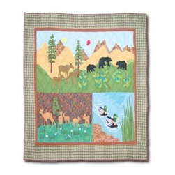 Patch Magic - Nature's Splendor Crib Quilt - 36 in. W x 46 in. L. Handmade, hand quilted. 100% CottonMachine washable, but for best care hand wash in cold water. Do not machine dry. Do not dry clean. Line or flat dry only.