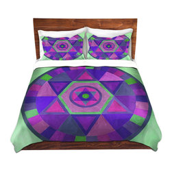 DiaNoche Designs - Duvet Cover Twill by Jennifer Baird - Mandala II C - Lightweight and super soft brushed twill Duvet Cover sizes Twin, Queen, King.  This duvet is designed to wash upon arrival for maximum softness.   Each duvet starts by looming the fabric and cutting to the size ordered.  The Image is printed and your Duvet Cover is meticulously sewn together with ties in each corner and a concealed zip closure.  All in the USA!!  Poly top with a Cotton Poly underside.  Dye Sublimation printing permanently adheres the ink to the material for long life and durability. Printed top, cream colored bottom, Machine Washable, Product may vary slightly from image.
